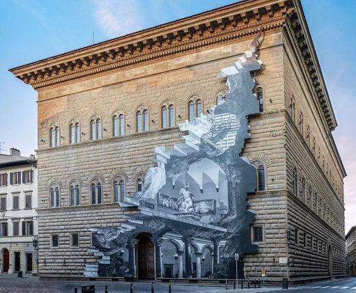 JR a Palazzo Strozzi con 'La Ferita'